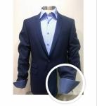 Pak blauw met blauw hemd, manchet met fantasiemotief