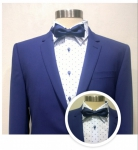 Pak electric blue met lichtblauw hemd blauwe spikkel en blauwe strik
